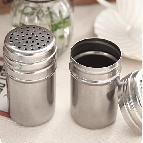 Boying Stainless Steel Spice Bottles Salt Sugar Spice Pepper Shaker Seasoning Cans with Rotating Cover for Kitchen Cooking and Outdoor Barbecue (Empty Salsa Bottle)