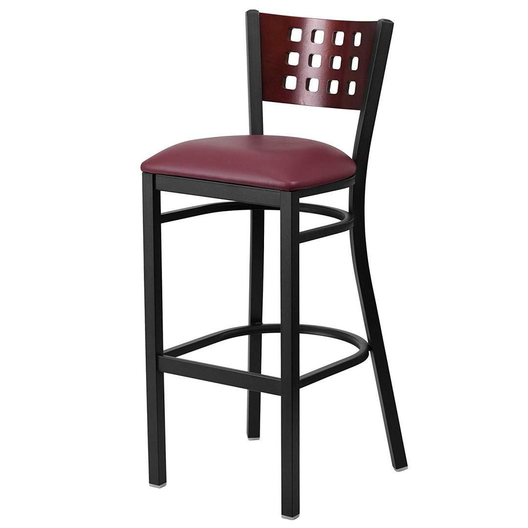Modern Style Metal Dining Bar Stools Pub Lounge Restaurant Commercial Seats Mahogany Wood Cutout Back Design Black Powder Coated Frame Finish Home Office Furniture - (1) Burgundy Vinyl Seat #2207