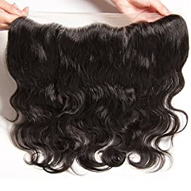Aliglossy Hair Brazilian body wave 13×4 Ear to Ear Lace Frontal Free Part 100% Unprocessed Human Hair Frontal Closure Nature Color (10 inch free part)