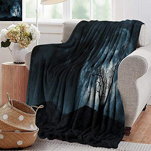 PearlRolan Couch Blanket,Fantasy,Night Moon Sky with Tree Silhouette Gothic Halloween Colors Scary Artsy Background,Slate Blue,Warm & Hypoallergenic Washable Couch/Bed Throws, Microfiber -