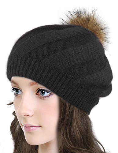 Dahlia Women's Angora Blend SlouchÿBeanie Winter Hat Dual Layer Fur Pom, Black