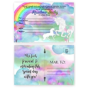 Rainbow Unicorn Baby Shower Invitations 20 Count 4×6 inch Postcards