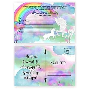 Rainbow Unicorn Baby Shower Invitations 20 Count 4×6 inch Postcards