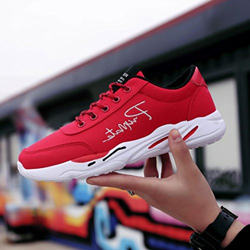 VEMOW Sports Outdoor Shoes for Men Women, Trainers Flats Flip Flops Thongs Espadrilles Wedge Running Walking, Men's Casual Spring Sport Shoes Travel Breathable Lace-up Sneakers Red