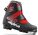 Alpina Sports Youth T-Kid Touring Cross Country Nordic Ski Boots With Dual Strap Closure, Black/Red, Euro 26