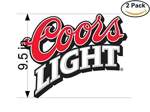 Coors Light 2 Beer Logo Alcohol 2 Vinyl Stickers Decal Bumper Window Bar Wall 9.5 Inches by CanvasByLam