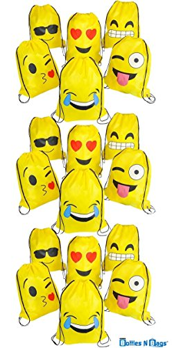 18 Pack Emoji Drawstring Backpack Bags | 16 Inches | Super Fun for Goody Bags, Birthday Party Favors & Tote Bags for the Gym & Back to School Supplies | -
