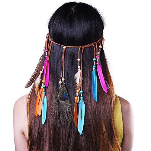 Kloud City Tribal Boho Peacock Feather Headband Weave Hippie Headwear Masquerade Fancy Dress (Party City Flapper Dress)