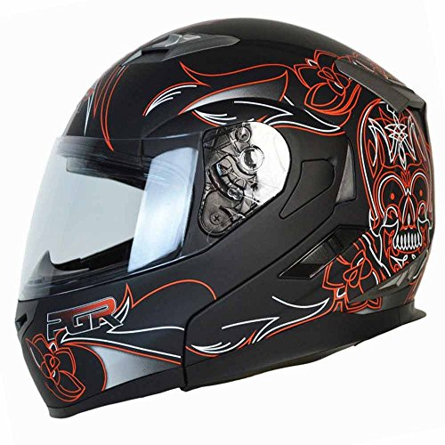 PGR F99 PINSTRIPE Modular Flip Up Dual Visor Full Face with Sun Shield DOT APPROVED Motorcycle Touring MAX Helmet (XXLARGE, MATTE BLACK (Pin Lock Visor System)
