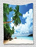Beach Tapestry Blue Paradise Shores Decor by Ambesonne, Mahe Island in Seychelles Holiday Picture Print, Bedroom Living Kids Room Dorm Accessories Wall Hanging, 60W x 80L Inches, Blue Ivory Green