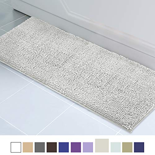 ITSOFT Non Slip Shaggy Chenille Soft Microfibers Runner Large Bath Mat for Bathroom Rug Water Absorbent Carpet, Machine Washable, 21 x 59 Inches Light Gray (Rug Bathroom Runners For)