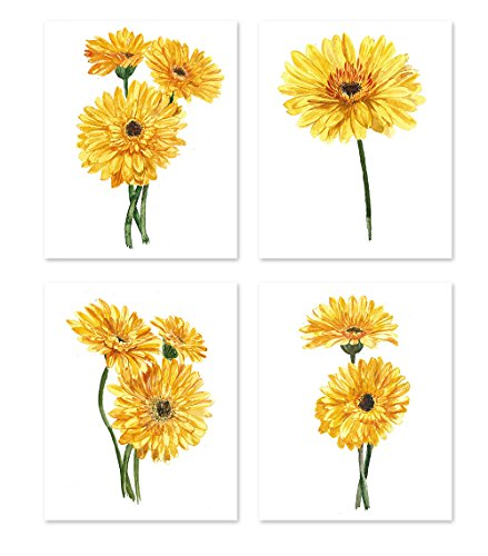Floral wall art #A129 - Set of 4 (8x10) art posters. Gerber daisy poster Yellow flowers Wall Decor Home Botanical Nature Prints Floral (Gerber Daisy Decor)