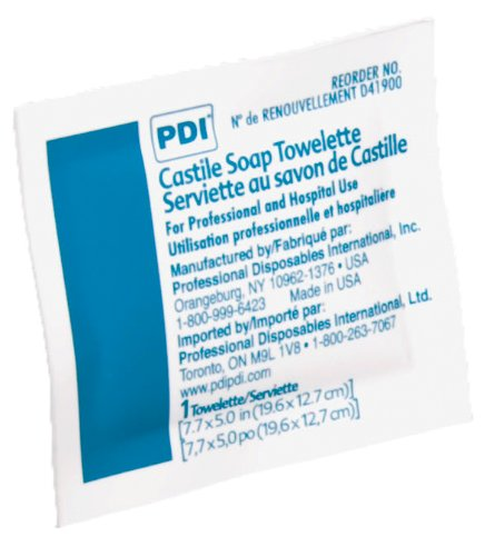 Pdi, Inc Castile Soap Towelettes, Npkd41900Z, 1 Pound