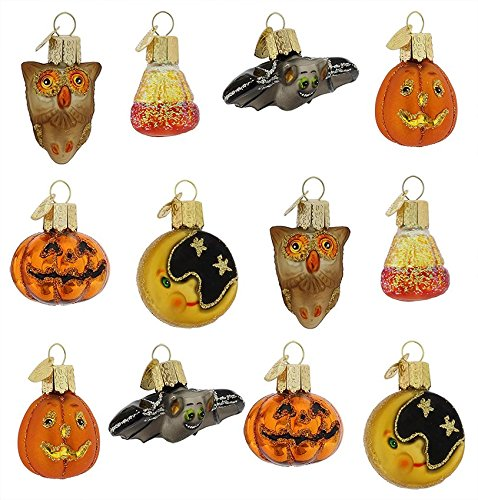 Old World Christmas Mini Assortment of 12 Halloween Ornaments Bat Pumpkin Owl