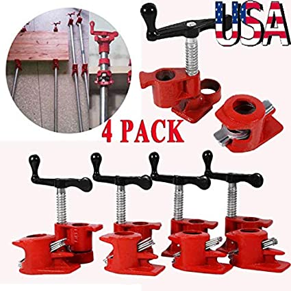 "1//2/"" Wood Gluing Pipe Clamp Set Heavy Duty PRO Woodworking Cast Iron"