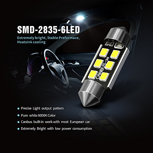 siriusled super bright 2835 chipset canbus error free led festoon bulbs for car interior license. Black Bedroom Furniture Sets. Home Design Ideas