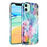 Hekodonk Compatible iPhone 11 Case, Flower Clear Design TPU Bumper Protective Silicone Shockproof Protective Flexible Anti-Scratch Cover for Apple iPhone 11 Nebula Mandala