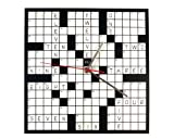 DCI Creative Fun Black & White Crossword Puzzle Wall Clock Decor