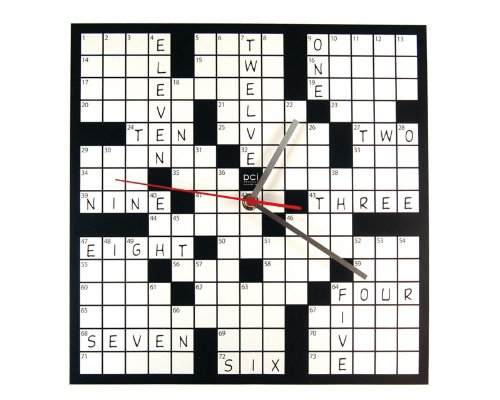 DCI Creative Fun Black & White Crossword Puzzle Wall Clock Decor Deal (Large Image)