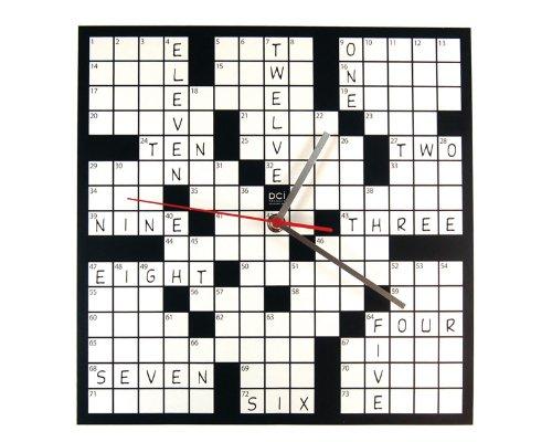DCI Creative Fun Black & White Crossword Puzzle Wall Clock Decor
