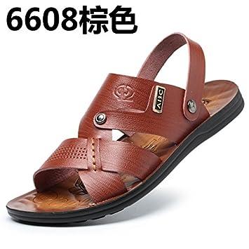 Dew-toe sandalias verano hombre zapatos de hombre calzado de playa Rocío-toe sandalias de cuero zapatillas cool ocio marea marrón oscuro 39,6608: Amazon.es: ...