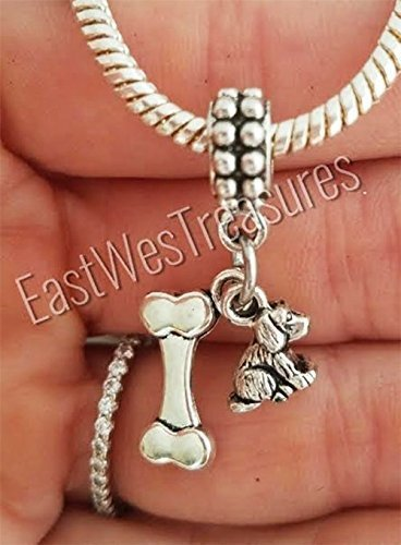 , puppy, Dog Bone charm pendant for all brand charm bracelets and any chain necklace (Bone Pet Charm)