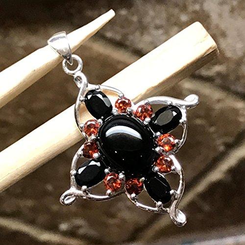 Natural 4ct Pyrope Garnet, Black Onyx 925 Solid Sterling Silver Designer Pendant 40mm long