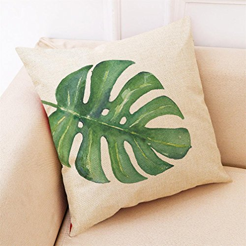 18' Tropical Decor (PrettyW Pillow Covers Pillow Case - Big Leaf Tropical PlantsThrow Pillowcase Cotton LinenDecorative Throw Pillow Case Cushion Cover Pillowcase,18 x 18 Inch (C))