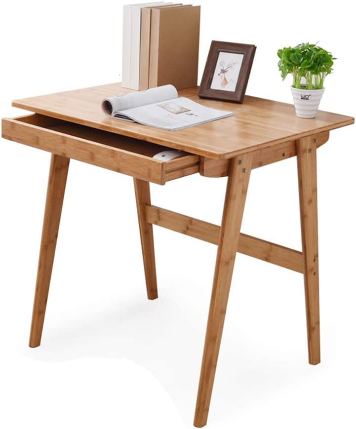 Carl Artbay Home&Selected Furniture / 100% Bamboo Desktop Computer Desk with Drawer Writing Desk Reading Table Office Table 80 60 75CM