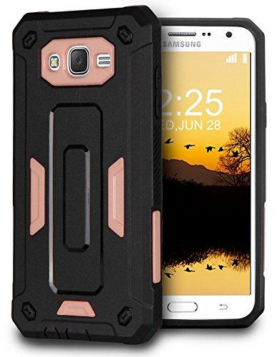 J7 (2015) J700 CASE, ANTI-FINGERPRINT ROSE GOLD PINK BLACK CASE COVER FOR SAMSUNG GALAXY J7 GALAXY J7 (2015) (SM-J700, J700H, J700M) (Boost Mobile, MetroPCS, T-Mobile, Virgin - Pink Gold And Black
