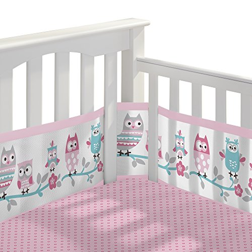 BreathableBaby 3pc Classic Crib Bedding Set- Owl Fun Pink
