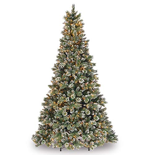 - 9' Pre-Lit Glittery Bristle Pine Artificial Christmas Tree - Clear Lights