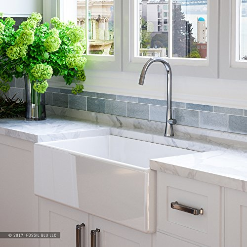 Luxury 33 inch Pure Fireclay Modern Farmhouse Kitchen Sink in White, Single Bowl with Flat Front, includes Stainless Steel Drain, FSW1002 by Fossil Blu