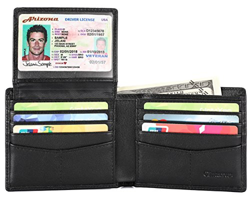 Mens Genuine Leather Bifold Wallet with 2 ID Window and RFID Blocking
