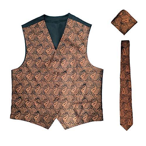 Necktie Brown Paisley Design - WULFUL Men's 3pc Paisley Vest Necktie Pocket Square Set for Suit or Tuxedo (Brown, XXL(chest51)
