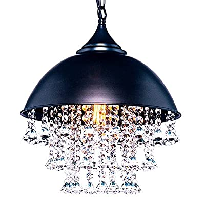 Vintage Iron Retro Crystal Pendant Light Metal Hanging Ceiling Light Chandelier with1 light