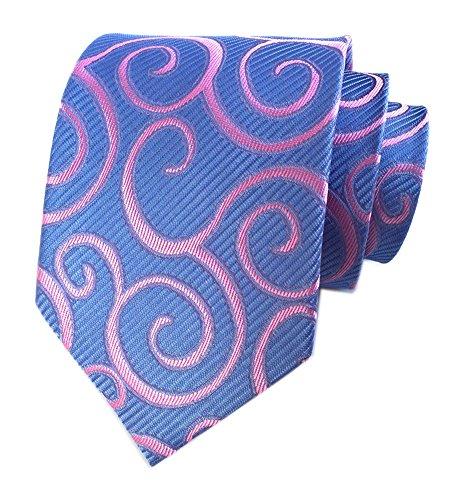 Men Sky Blue Pink Rattan Woven Tie HANDMADE Luxury Suit Necktie Birthday Present (Suit Necktie)