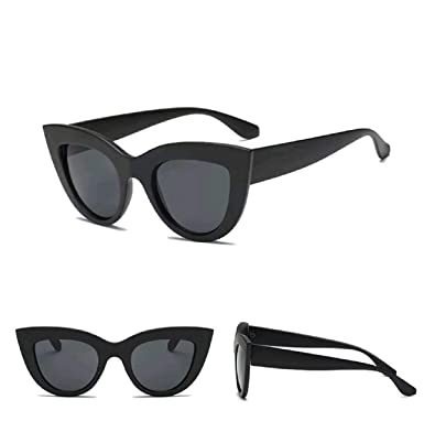 f4b9aa987 Black Cat Eye Sunglasses Oversized Women Ladies Retro Vintage Aviator  Reflective IBIZA UK