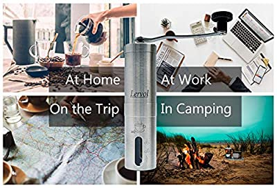 Manual Coffee & Spice Grinder – Portable and Robust – Stainless Steel Coffee Grinder – Hand Held Conical Ceramic Burr Mill – Mini Portable Home Kitchen Travel Coffee Bean Grinder