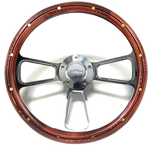 1957 Chevy Steering Wheel - 1957 -1963 Chevy Full Size Cars Real Wood & Chrome Steering Wheel & Adapter