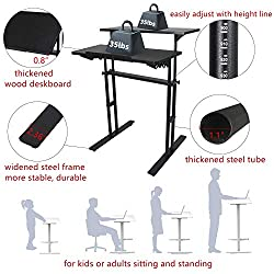 Yurucy Stand Up Desk Height Adjustable Laptop Desk Home Office Mobile Workstaion Presentation Cart Student Table Black