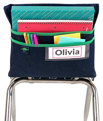 Aussie Pouch Chair Pocket with Double Pocket Design and Name Tag Pocket, Original, 13 Inches, Green -