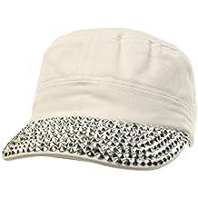 Cute Jewel Rhinestone Bling Bling Visor Cadet GI Castro Cap Hat Adjustable