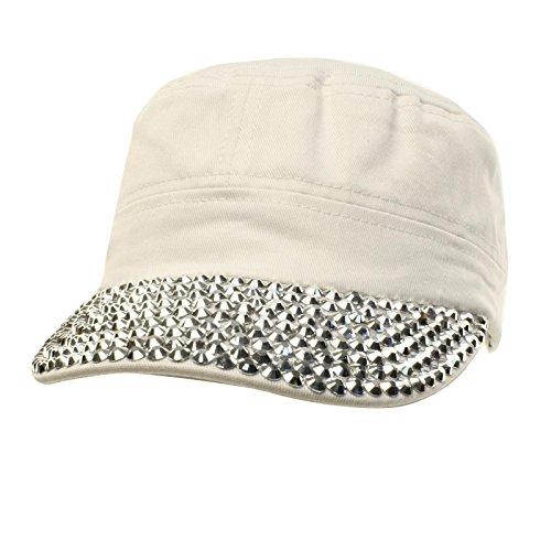 (Cute Jewel Rhinestone Bling Bling Visor Cadet GI Castro Cap Hat Adjustable White)