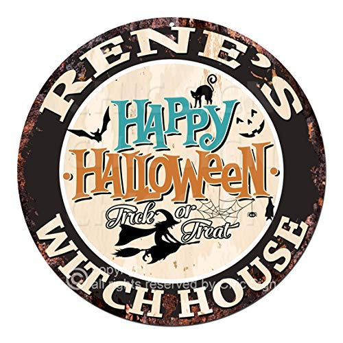 Rene'S Happy Halloween Witch House Chic Tin Sign Rustic Shabby Vintage Style Retro Kitchen Bar Pub Coffee Shop Man cave Decor Gift -