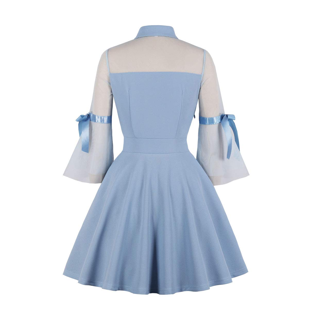 Wellwits Womens Keyhole Mesh Bell Sleeve Knee Swing Cocktail Dress