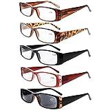 Eyekepper 5-Pack Spring Hinges Rectangular Reading Glasses Sun Readers +0.75