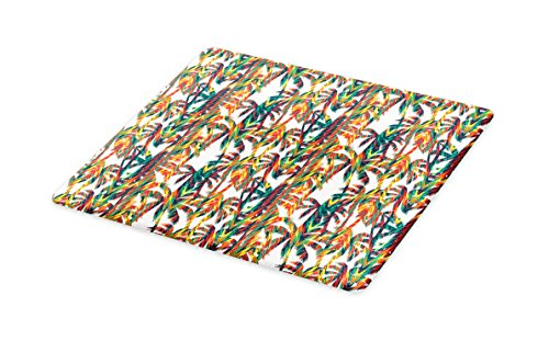Lunarable Tropical Cutting Board, Artistic Colorful Design Palm Trees Summertime in the Hawaii Jungle Theme Leaves, Decorative Tempered Glass Cutting and Serving Board, Small Size, Multicolor by Lunarable
