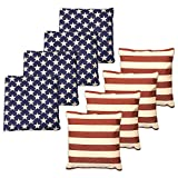 Weather Resistant Cornhole Bean Bags - Set of 8 American Flag Corn Hole Bags (Stars & Stripes) - Regulation Size & Weight