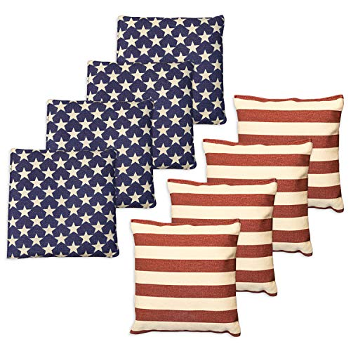 Weather Resistant Cornhole Bean Bags - Set of 8 American Flag Corn Hole Bags (Stars & Stripes) - Regulation Size & Weight -